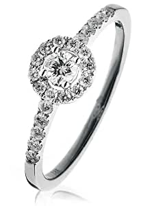 0.40CT Certified G/VS2 Round Brilliant Center with Cluster and Halo Diamond Ring with Diamond Shoulders in 18K White Gold