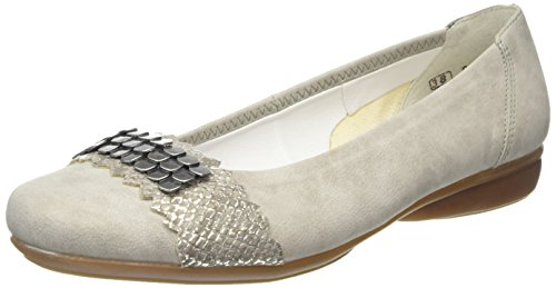 Rieker L8360 Women Closed Toe, Damen Geschlossene Ballerinas, Grau (grey/fango-silver/41), 38 EU