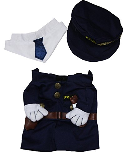 petitebelle Puppy Kleidung Hund Kleid Polizei Top Hat Schal Kostüm