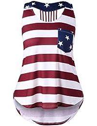 SHOBDW Las mujeres de moda Casual apenado bandera americana sin mangas Slim Sexy camisa sin mangas