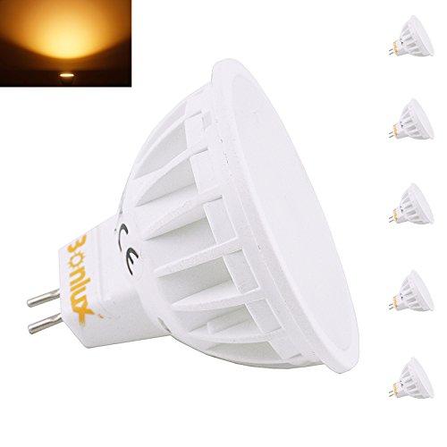 Bonlux 5-Pack 4W MR16 G5.3 ha condotto la lampadina 220-240 Volt bianco caldo 3000K 120 (Illuminazione Della Pista)