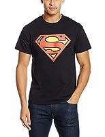 DC Comics Men's Superman Original Shield T-Shirt, Black, Small