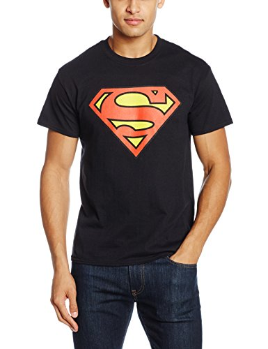 DC Comics Superman Original Shield, T-Shirt Uomo, Black, Large