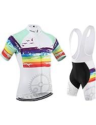 [Cojín 3D][traje[strap blancas] tamaño:L] chaleco de para ciclismo los rendimiento rompevientos corta hombres ropa transpirable Jerseys maillot manga