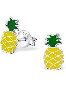 Bungsa© Kinder-Ohrstecker Ananas .925 STERLING SILBER Pineapple bunt (Ohrringe Echtschmuck Studs Ohrschmuck Jungen...