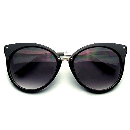 Spitzes Horn Umrandeten Indie Retro Cat Eye Sonnenbrille Metall Studs (Schwarz) (Für Frauen Umrandeten Brille Horn)