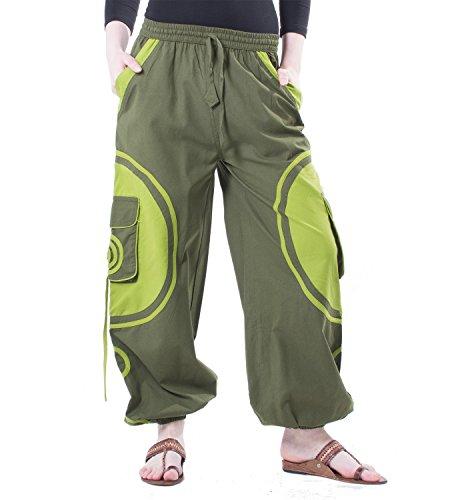 Kunst und Magie Pantaloni unisex con Goa a spirale Army Green / Limone