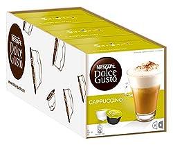 NESCAFÉ Dolce Gusto Cappuccino Arabica und Robusta Bohnen/Vollmundiger Kaffee und lockerer Milchschaum/Aromaversiegelte Kapseln/3er Pack (3 x 16 Kapseln)