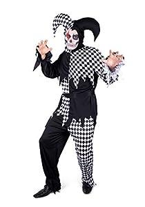 Karnival Costumes- Halloween Evil Harlequin Disfraz, Color blanco y negro, extra-large (82195)