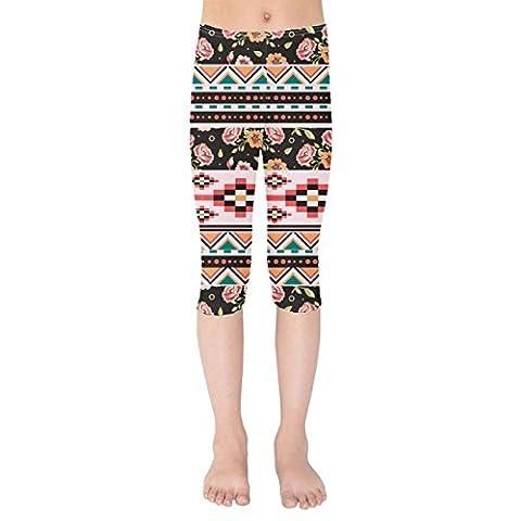 Floral Aztec Tribals Kids Capri Leggings -