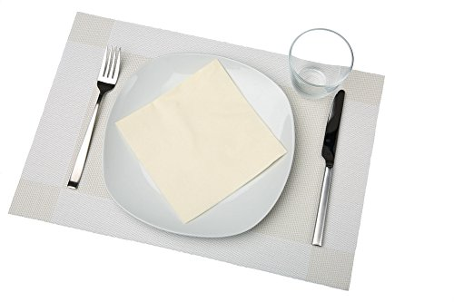 bellendo Tischsets 4er Set | Platzset PVC Kunststoff: Abwaschbar, rutschfest | Edle Design Platzdeckchen 45x30 cm, creme weiß