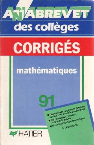 Annabrevet 1991, Brevet des collèges Mathématiques, numéro 6, corrigés