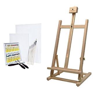 Artina Sydney – Set de Pintura – Caballete de Pintura de Mesa (Pino), Colores acrílicos, lienzos, Pinceles y espátulas