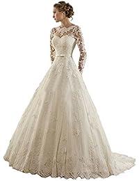 VIPbridal Joyería Mujer Lace Applique manga larga Capilla vestido de novia