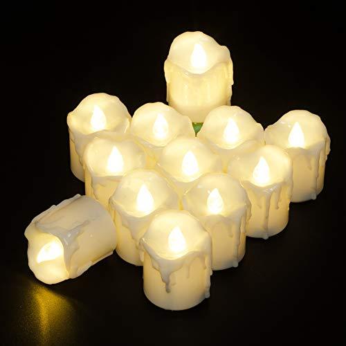 PChero 12pcs batteriebetriebene warme weiße Timing LED flammenlose flackernde Teelichter Kerzen mit Timer, 6 Stunden auf Pro 24 Stunden Zyklus - [1,7 Zoll hohe Version]