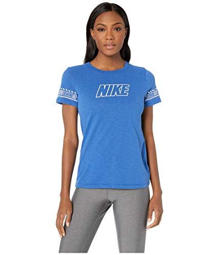 Nike Damen W NK Dry Tee DFC Brand SLUB T-Shirt, Game Royal/Htr, M - Nike Blaues T-shirt