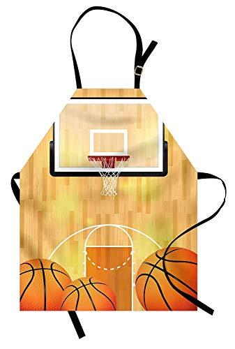 Soefipok Sportschürze, Vivid Basketball Court Balls und Hoop Madness Rim Court Parkett Hartholz, Unisex-Küchenschürze mit verstellbarem Hals zum Kochen Backen Gartenarbeit, Orange Schwarz Weiß