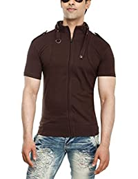 Tees Collection Men's Full Zip Buckle Neck Half Sleeve Brown Colour T-shirt