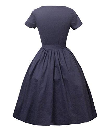 Dissa M124418D Robe de bal Vintage pin-up 50's Rockabilly robe de soirée cocktail,S-XXXXL Bleu