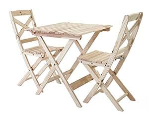 Ambientehome Balkonset Sitzgruppe klappbar Bistroset Lotta, Natur, 3-teiliges Set