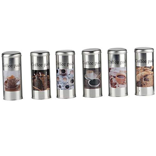 SIDCO 6 x Kaffeepaddose Dekodose Aufbewahrungsbehälter für Kaffeepads Vintage Look verschiedene...