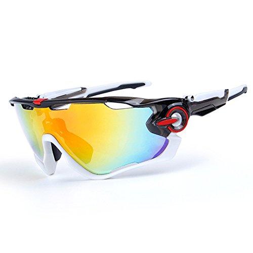 ZoliTime Radfahren Sonnenbrille polarisierte Herren Sportbrille 4 Objektiv Radfahren Brille Fahrradbrille (Schwarz-Weiss) -