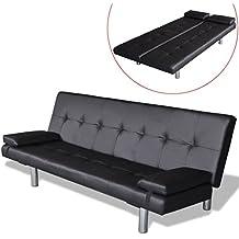 vidaXL Sofá cama regulable con 2 cojines, Negro