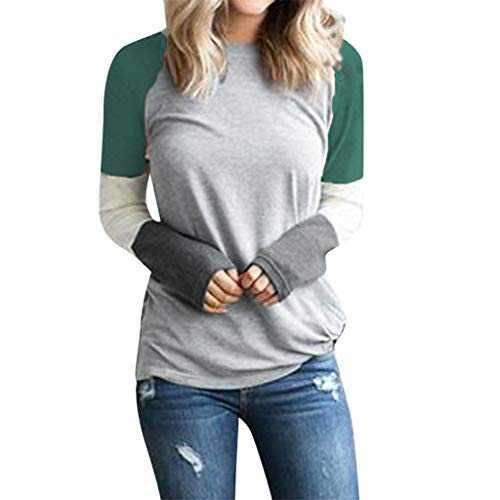 Haughtily Frauen Patchwork Langarmshirts Mode Lässig Oansatz Slim Fit Sommer Herbst Pullover Sweathsirt -