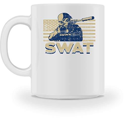 Behörde Weißes T-shirt (SPIRITSHIRTSHOP SWAT - Special Weapons And Tactics - Taktische Spezialeinheiten Der Polizei, Polizisten - Tasse -M-Weiß)