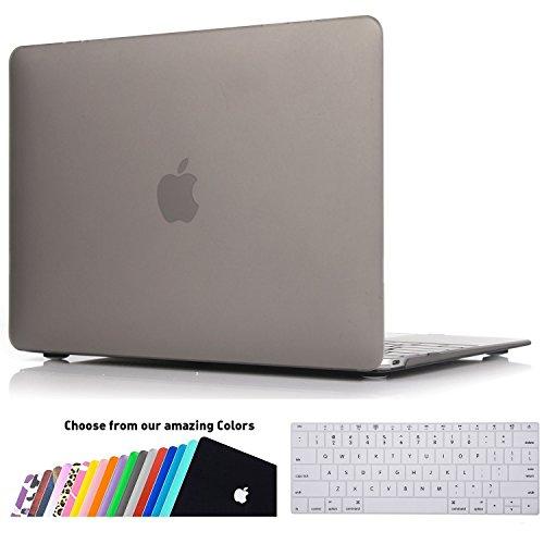 MacBook 12 Retina Hülle Schale,iNeseon Ultra Slim Plastik Hartschale Tasche Cover Shell, US Grau und EU Transparent Tastatur Abdeckung Schutzhülle für Apple MacBook 12 Zoll mit Retina Display [Modell:A1534] (Grau) (Tastatur-abdeckung Mac Retina)