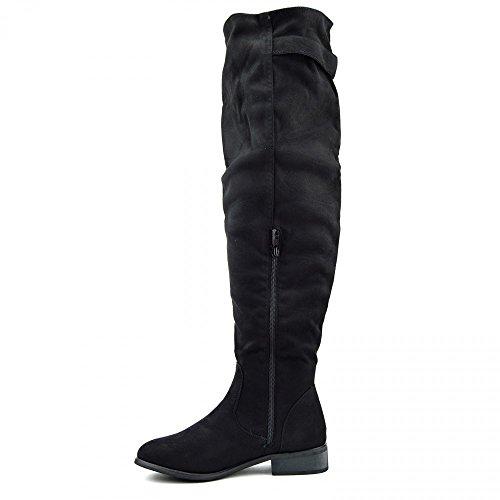 Donne Delle Signore Più Alti Al Ginocchio Frange Stivali Invernali Lunga Ladies Zip Boots Nero