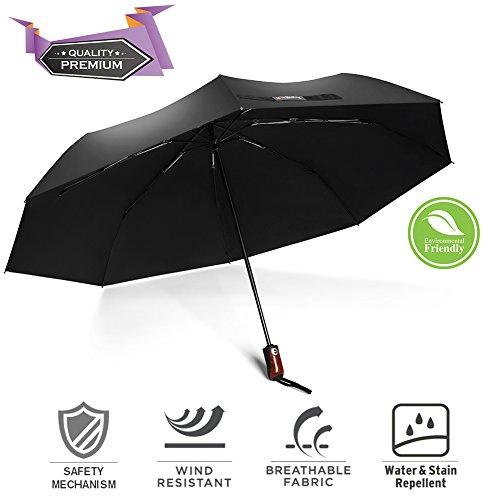 Winddicht Regen Regenschirm, bravrain Auto Open Close Kompakte Reise Regenschirm Auto-Lock-anti-rebound Sicherheit Mechanismus, verstärkte Glasfaser Rippen, Quick Dry wasserabweisend Stoff Leicht Schwarz
