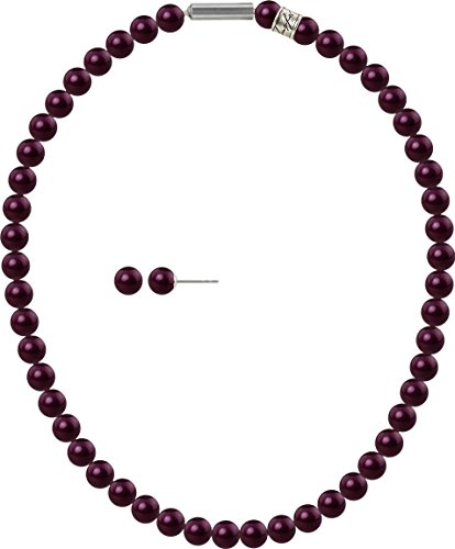 2er Perlen-Schmuckset 8mm Stecker und Collier mit original Swarovski ® Perlen 8mm, Farbe:BlackBerry Pearl