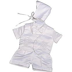 Lito Angels - Ropa de Bautizo - para bebé niño Blanco White (Short Sleeves) 9 Mes