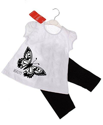 Trinitti Mädchen Set kurz Sommer T-Shirt Leggins schwarz weiß Strass F1 (104)