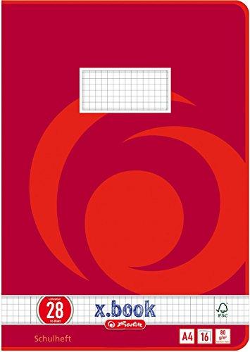 Herlitz x.book für Teens Schulheft A4, 16 Blatt, 2 Motive, kariert mit Rand innen/außen (Lineatur 28, 20er Spar-Packung)