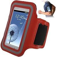 TechExpert Brassard sport tour de bras rouge pour Samsung Galaxy SIII mini/i8190, Galaxy Trend Duos/S7562 idéal pour les sportifs, course à pied ou salle de sport avec pochette pour clés
