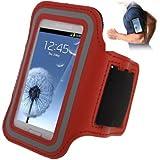 TechDealsUK Sport Jogging Fitness Armband Tasche mit Klettverschluss für Samsung Galaxy S3 Mini i8190, & Trend Duos S7562 Rot