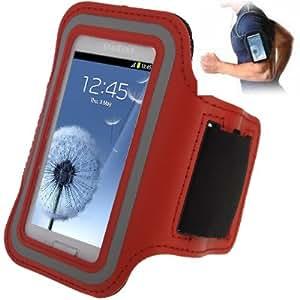 Brassard sport tour de bras rouge pour Samsung Galaxy SIII mini / i8190 , Galaxy Trend Duos / S7562 idéal pour les sportifs, course à pied ou salle de sport avec pochette pour clés