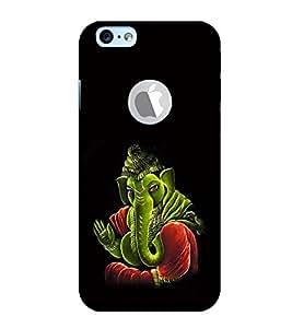 Fiobs Designer Back Case Cover for Apple iPhone 6 (Logo View Window Case) (Gold Ganapati Ganesh Ganesha )
