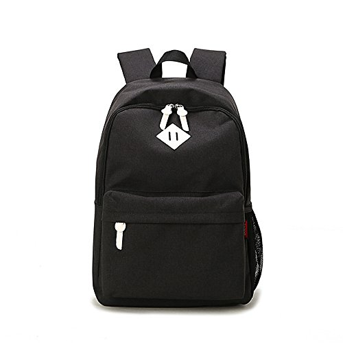 Evay Lightweight Schulrucksäcke 300D Nylon Wasserdicht Freizeit Daypack für Damen und Herren Vintage Rucksack für Oberschule Universität Laptoprucksack mit 14 zoll Laptopfach - Schwarz (Schlanke Schulter-schultasche)