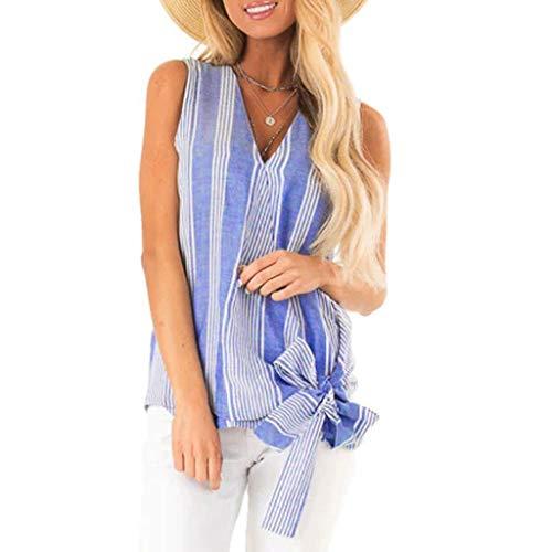 Ziyou Damen Sommer Tank gestreifte Wrap Lässig V-Ausschnitt ärmellose vorne geknotete Tops Tunika Bluse Shirts(2XL, Blau) - Gestreifte Wrap Cardigan