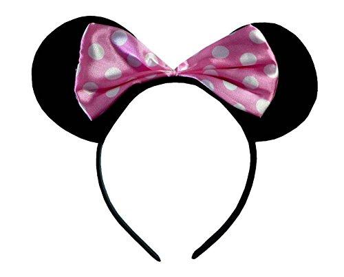 Rosa (Minnie Mouse Alice Bnd) Ohren Schwarz mit Rosa u. Weiße Tupfen Satin Bogen Minnie Maus Disney Kostümgeschäfte Haarband