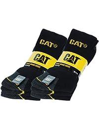 Caterpillar 6 Paires Chaussettes de travail pour hommes Prévention des accidents renforcées au talon et à la pointe Coton d'excellente qualité