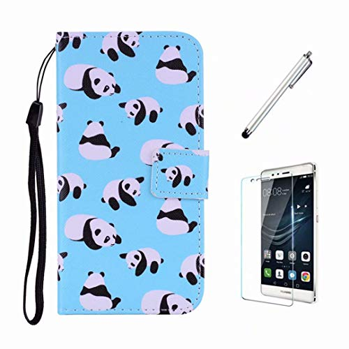 Samsung Galaxy S9 Hülle Ttimao Flip PU Leder Wallet Schutzhülle mit Standfunktion Geeignet für ID-Card-Slot Stoßfest Handyhülle-Panda+1*Displayschutzfolie Flip Lock Wallet