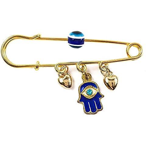 Oro revestidos de Pin cochecito bebé encanto esmalte Hamsa mal ojo amuleto de protección