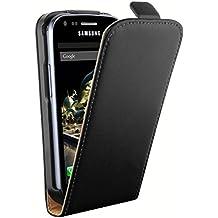 mumbi PREMIUM Cuir véritable Housse Samsung Galaxy Trend - Coque Étui Trend S7560 Etui à clapet Protecteur Flip Style Noir