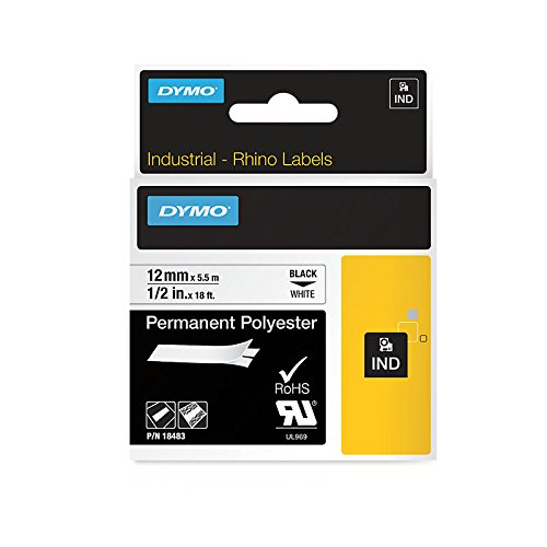 Dymo 18483 Etikettenband (Permanent klebendes, industrielles, RhinoPRO, Kassette, 12 mm x 5,5 m) weiß