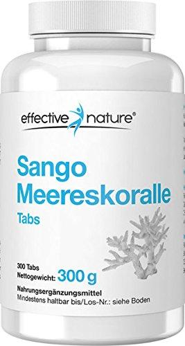 effective nature Sango Meereskorallen Tabs - Optimales Kalzium-Magnesium Verhältnis - 300 Stk. - Praktisch für unterwegs