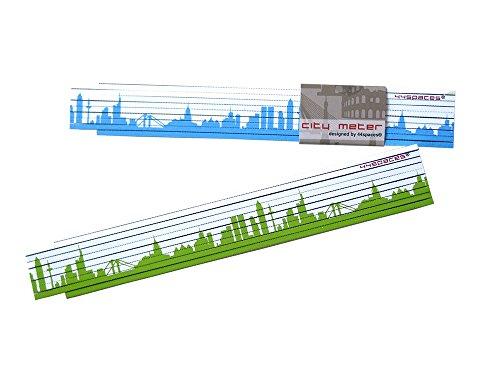 44spaces Zollstock Frankfurt Motiv Bedruckt, 2 m grün/blau, Väter Papa Opa Handwerker, 2-farbig -